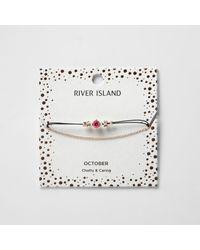 River Island | Pink October Birthstone Chain Bracelete | Lyst