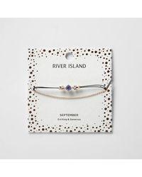River Island | Blue September Birthstone Chain Bracelet | Lyst