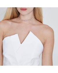 River Island - Pink Rose Gold Colour Diamante Choker - Lyst