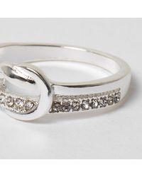 River Island - Metallic Silver Tone Diamante Knot Ring - Lyst