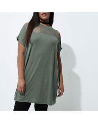 River Island - Plus Khaki Green Slashed Oversized T-shirt - Lyst