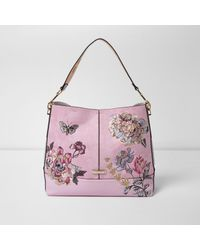 Lyst river island floral embroidered slouch underarm shoulder bag river island womens pink floral embroidered slouch underarm shoulder bag mightylinksfo
