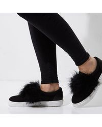 River Island - Black Wide Fit Fluffy Slip On Plimsolls - Lyst
