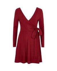 River Island | Dark Red Wrap Ballet Style Dress | Lyst