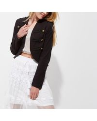 River Island   Black Gold Tone Button Military Jacket   Lyst