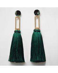 River Island - Dark Green Tassel Drop Earrings - Lyst
