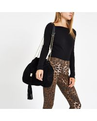 River Island - Black Leather Gold Tone Chain Handle Tote Bag - Lyst