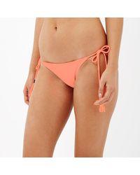 River Island - Red Coral Fringed Bikini Bottoms - Lyst