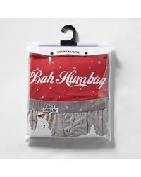 River Island - Red 'bah Humbug' Print Pyjama Set for Men - Lyst