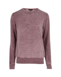 River Island - Red Burnout Crew Neck Sweatshirt for Men - Lyst