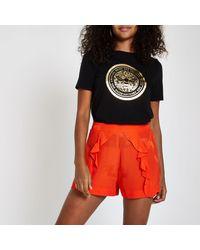 River Island - Red Bird Print Frill Jacquard Shorts - Lyst