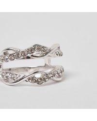 River Island - Metallic Silver Tone Diamante Encrusted Twist Ring - Lyst