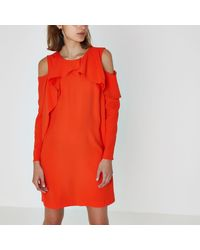 River Island - Red Cold Shoulder Puff Sleeve Swing Dress - Lyst