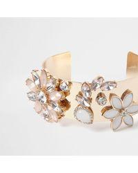 River Island - Metallic Gold Tone Floral Jewel Cuff Bracelet Gold Tone Floral Jewel Cuff Bracelet - Lyst