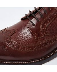 River Island - Brown Leather Brogues for Men - Lyst