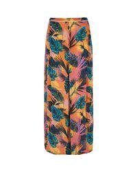River Island - Orange Tropical Split Front Maxi Beach Skirt - Lyst