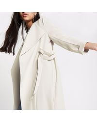 River Island - Natural D-ring Duster Coat - Lyst