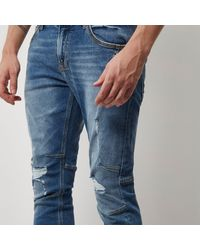 River Island - Mid Blue Wash Ryan Jogger Jeans for Men - Lyst