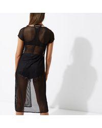 River Island - Black Mesh Split Front Maxi T-shirt Dress - Lyst