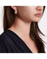 River Island - Metallic Rose Gold Tone Rhinestone Chunky Hoop Earrings - Lyst