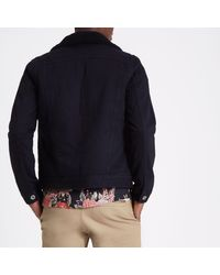 River Island - Black Borg Collar Denim Jacket Black Borg Collar Denim Jacket for Men - Lyst