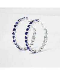 River Island - Metallic Silver Tone Sapphire Encrusted Hoop Earrings Silver Tone Sapphire Encrusted Hoop Earrings - Lyst