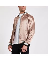 River Island - Dusty Pink Satin Look Bomber Jacket for Men - Lyst