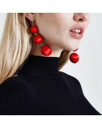 River Island - Red Triple Ball Drop Earrings Red Triple Ball Drop Earrings - Lyst