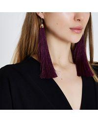 River Island - Purple Tassel Drop Earrings Purple Tassel Drop Earrings - Lyst