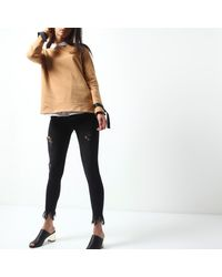 River Island - Light Brown Ring Detail Long Sleeve Sweater - Lyst