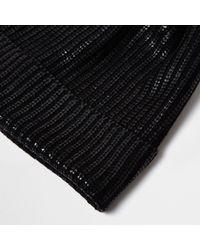 River Island - Black Metallic Knit Pom Pom Beanie - Lyst