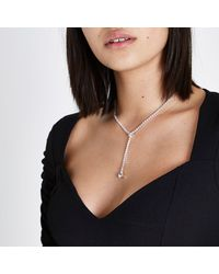 River Island - Metallic Silver Tone Diamante Cup Chain Y Necklace Silver Tone Diamante Cup Chain Y Necklace - Lyst