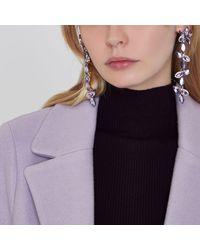 River Island - Purple Flower Drop Earrings - Lyst