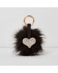River Island - Black Faux Fur Pom Pom Diamante Heart Keyring Black Faux Fur Pom Pom Diamante Heart Keyring - Lyst
