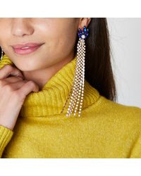 River Island | Metallic Gold Tone Cup Chain Sapphire Dangle Earrings Gold Tone Cup Chain Sapphire Dangle Earrings | Lyst
