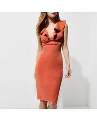 River Island | Dark Pink Frill Shoulder Plunge Bodycon Dress | Lyst