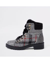 River Island - Gray Grey Check Faux Fur Tongue Hikng Boots - Lyst