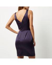 River Island | Dark Purple Cut-out Mini Dress | Lyst