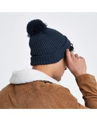 River Island - Blue Navy Bobble Top Beanie Hat Navy Bobble Top Beanie Hat for Men - Lyst