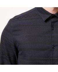 River Island - Blue Navy Geometric Print Flannel Shirt for Men - Lyst