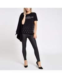 River Island - Petite Black 'montmartre' Studded Hem T-shirt - Lyst
