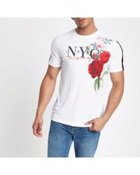 River Island - White Floral Slim Fit Tape T-shirt for Men - Lyst