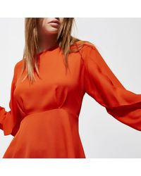 River Island - Red Frill Long Sleeve Blouse - Lyst