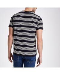 River Island - Lee Black Stripe Print Crew Neck T-shirt for Men - Lyst