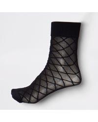 River Island - Black Diamond Pattern Ankle Socks - Lyst