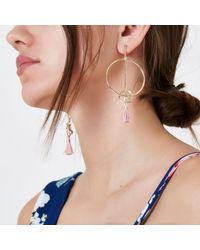 River Island - Metallic Gold Tone Link Hoop Pink Tassel Earrings - Lyst