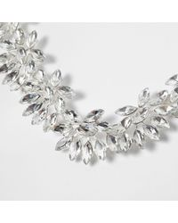 River Island - Metallic Silver Tone Floral Jewel Necklace - Lyst