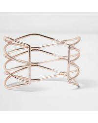 River Island | Metallic Rose Gold Tone Wavy Diamante Cuff | Lyst
