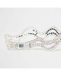 River Island - Metallic Silver Tone Wavy Diamante Bracelet Silver Tone Wavy Diamante Bracelet - Lyst