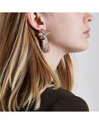 River Island - Pink Rose Gold Tone Flower Tassel Earrings Rose Gold Tone Flower Tassel Earrings - Lyst